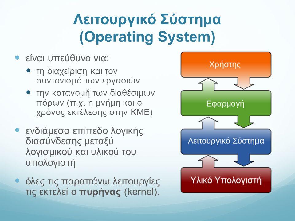 Λειτουργικό Σύστημα (Operating System) είναι υπεύθυνο για: τη διαχείριση και τον συντονισμό των εργασιών την κατανομή των διαθέσιμων πόρων (π.χ.
