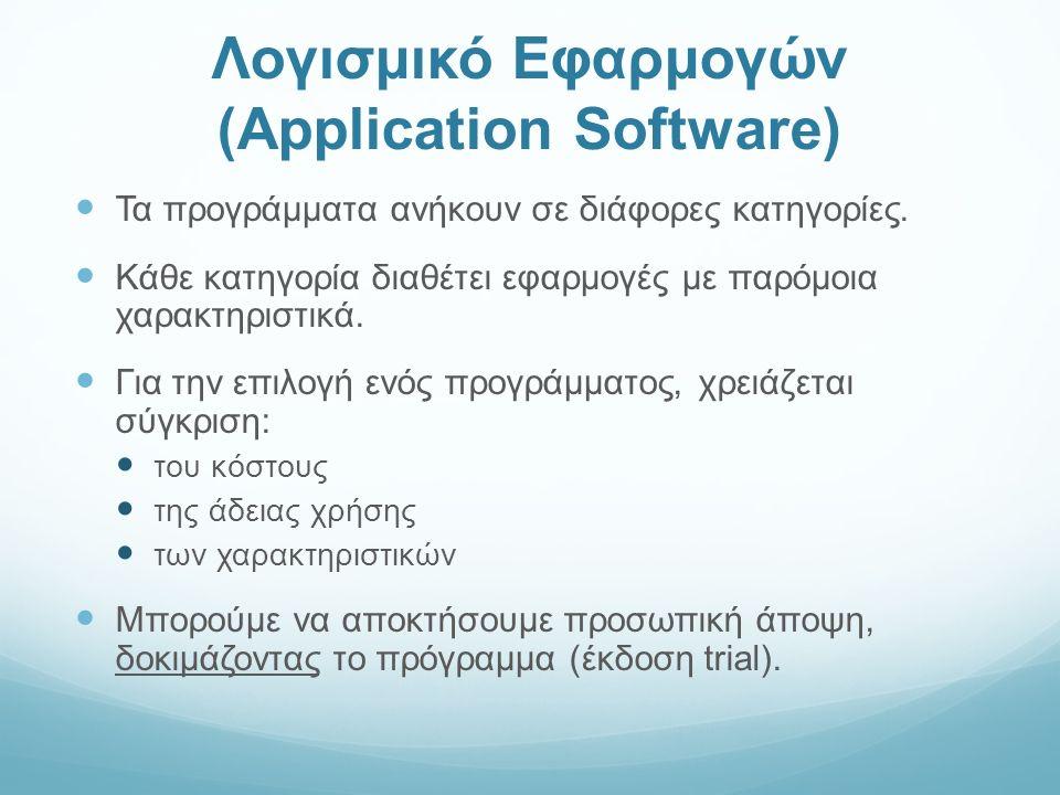 Λογισμικό Εφαρμογών (Application Software) Τα προγράμματα ανήκουν σε διάφορες κατηγορίες.
