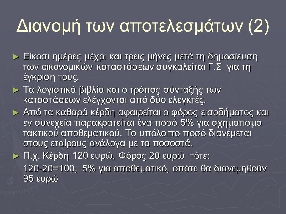 Διανομή των αποτελεσμάτων (2) ► Είκοσι ημέρες μέχρι και τρεις μήνες μετά τη δημοσίευση των οικονομικών καταστάσεων συγκαλείται Γ.Σ.