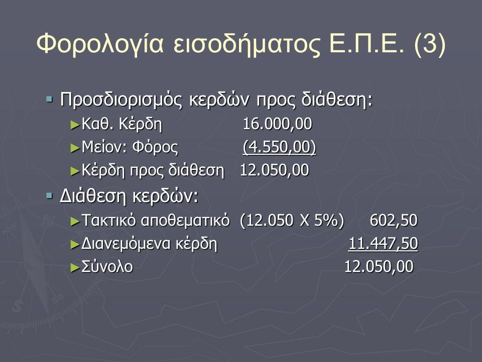 Φορολογία εισοδήματος Ε.Π.Ε. (3)  Προσδιορισμός κερδών προς διάθεση: ► Καθ.