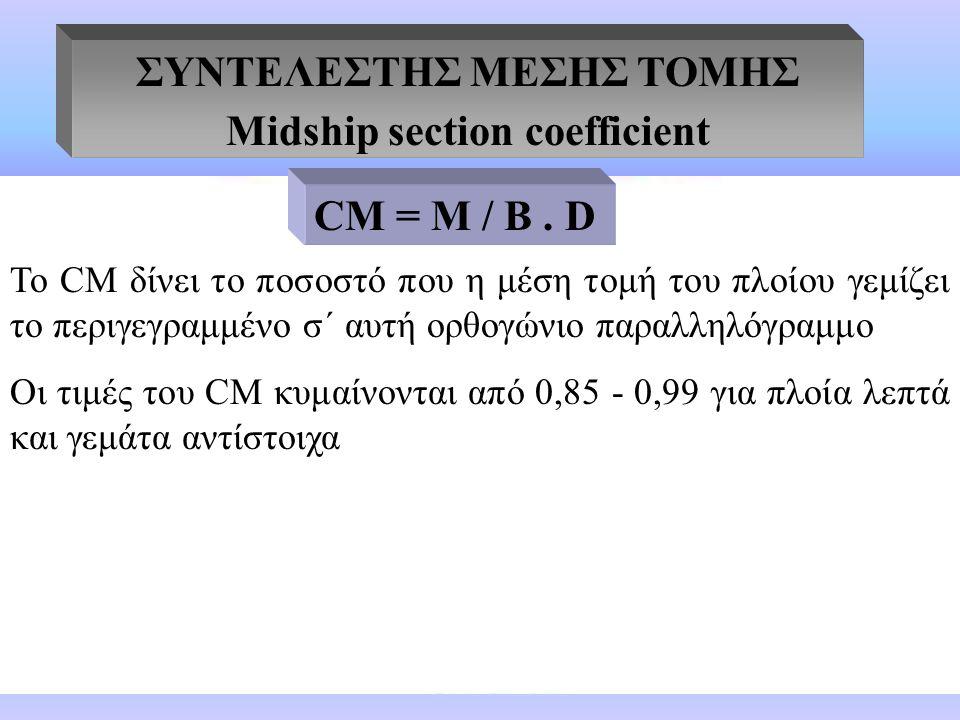 ΣΥΝΤΕΛΕΣΤΗΣ ΜΕΣΗΣ ΤΟΜΗΣ Midship section coefficient M = εμβαδό μέσης τομής Β = πλάτος κατασκευής D = μέσο βύθισμα Το CΜ δίνει το ποσοστό που η μέση τομή του πλοίου γεμίζει το περιγεγραμμένο σ΄ αυτή ορθογώνιο παραλληλόγραμμο Οι τιμές του CΜ κυμαίνονται από 0,85 - 0,99 για πλοία λεπτά και γεμάτα αντίστοιχα CΜ = Μ / B.