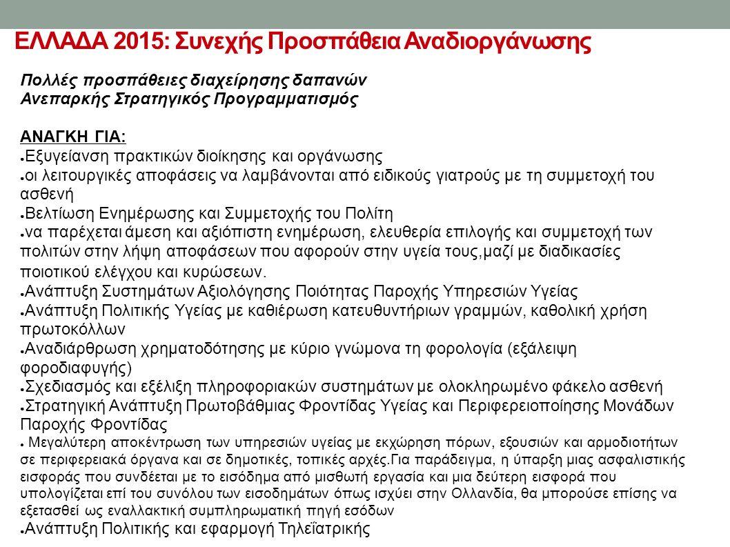 ΕΛΛΑΔΑ 2015: Συνεχής Προσπάθεια Αναδιοργάνωσης Πολλές προσπάθειες διαχείρησης δαπανών Ανεπαρκής Στρατηγικός Προγραμματισμός ΑΝΑΓΚΗ ΓΙΑ: ● Εξυγείανση πρακτικών διοίκησης και οργάνωσης ● οι λειτουργικές αποφάσεις να λαμβάνονται από ειδικούς γιατρούς με τη συμμετοχή του ασθενή ● Βελτίωση Ενημέρωσης και Συμμετοχής του Πολίτη ● να παρέχεται άμεση και αξιόπιστη ενημέρωση, ελευθερία επιλογής και συμμετοχή των πολιτών στην λήψη αποφάσεων που αφορούν στην υγεία τους,μαζί με διαδικασίες ποιοτικού ελέγχου και κυρώσεων.