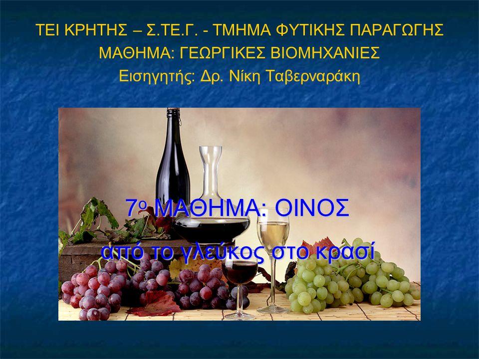 7 ο ΜΑΘΗΜΑ: ΟΙΝΟΣ από το γλεύκος στο κρασί ΤΕΙ ΚΡΗΤΗΣ – Σ.ΤΕ.Γ. - ΤΜΗΜΑ ΦΥΤΙΚΗΣ ΠΑΡΑΓΩΓΗΣ ΜΑΘΗΜΑ: ΓΕΩΡΓΙΚΕΣ ΒΙΟΜΗΧΑΝΙΕΣ Εισηγητής: Δρ. Νίκη Ταβερναράκ