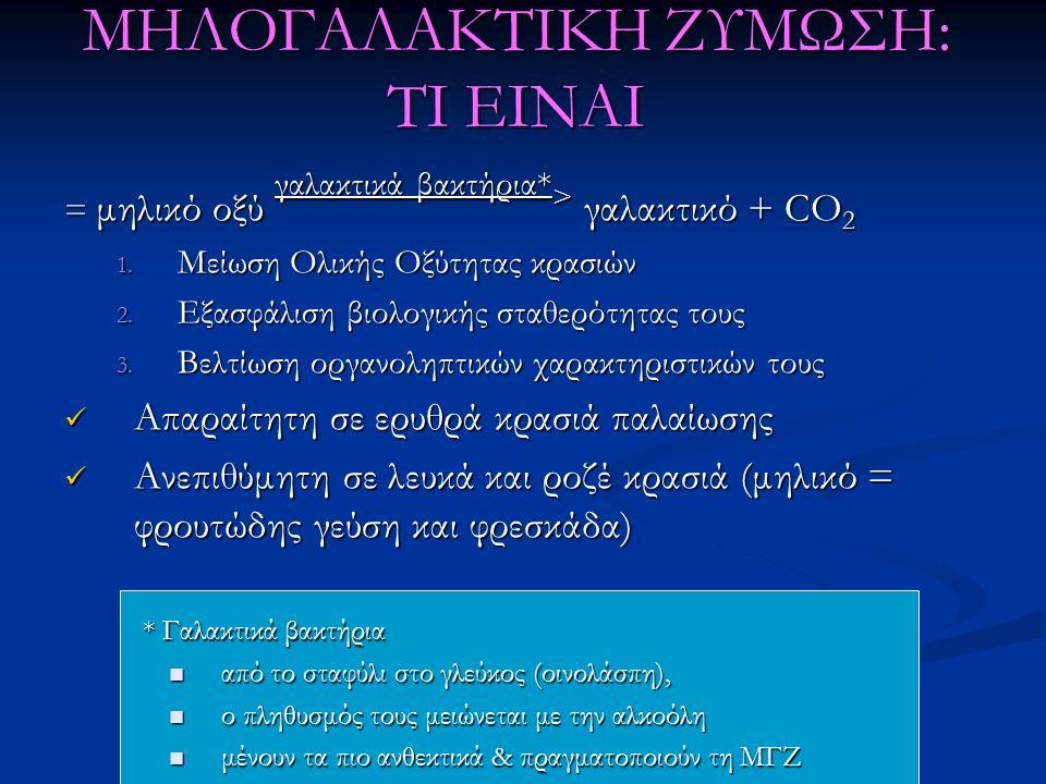 ΜΗΛΟΓΑΛΑΚΤΙΚΗ ΖΥΜΩΣΗ: ΤΙ ΕΙΝΑΙ = μηλικό οξύ γαλακτικά βακτήρια* > γαλακτικό + CO 2 1. Μείωση Ολικής Οξύτητας κρασιών 2. Εξασφάλιση βιολογικής σταθερότ