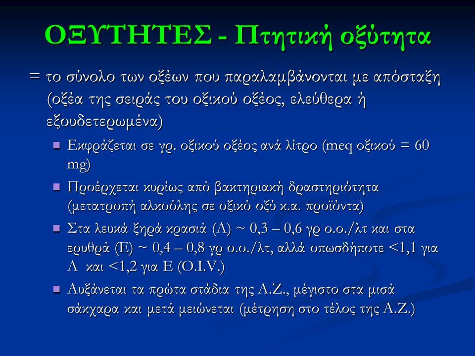 ΟΞΥΤΗΤΕΣ - Πτητική οξύτητα = το σύνολο των οξέων που παραλαμβάνονται με απόσταξη (οξέα της σειράς του οξικού οξέος, ελεύθερα ή εξουδετερωμένα) Εκφράζε