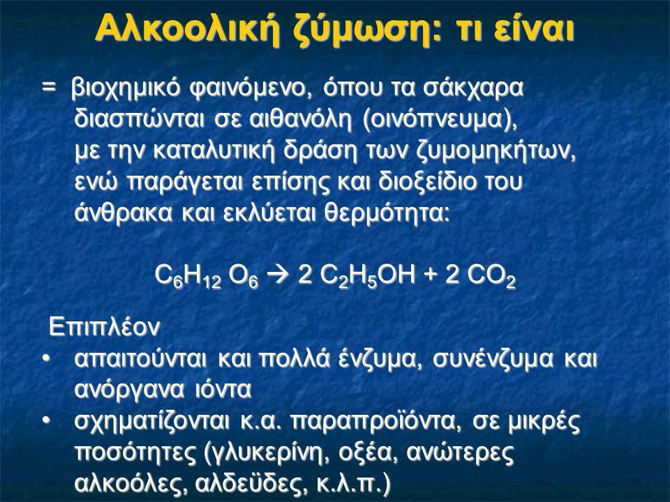 Αλκοολική ζύμωση: Πώς παρατηρείται 1.Αναβρασμός του γλεύκους = θορυβώδης ζύμωση, λόγω έκλυσης φυσαλίδων (διοξείδιο του άνθρακα), που αυξάνει τον όγκο του γλεύκους κατά 20%, (1/3 στέμφυλα και 2/3 ο χυμός)αυξάνει τον όγκο του γλεύκους κατά 20%, (1/3 στέμφυλα και 2/3 ο χυμός) ένα μέρος διαλύεται στο γλεύκος, το μεγαλύτερο αποβάλλεται στο περιβάλλον (φαινόμενα ασφυξίας)ένα μέρος διαλύεται στο γλεύκος, το μεγαλύτερο αποβάλλεται στο περιβάλλον (φαινόμενα ασφυξίας) σπρώχνει τους φλοιούς στο πάνω μέρος της δεξαμενήςσπρώχνει τους φλοιούς στο πάνω μέρος της δεξαμενής 2.Αύξηση της θερμοκρασίας του γλεύκους (βαθμοί Βé + 3°C) Π.χ.