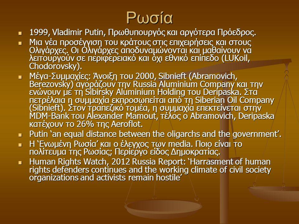 Ρωσία 1999, Vladimir Putin, Πρωθυπουργός και αργότερα Πρόεδρος. 1999, Vladimir Putin, Πρωθυπουργός και αργότερα Πρόεδρος. Μια νέα προσέγγιση του κράτο