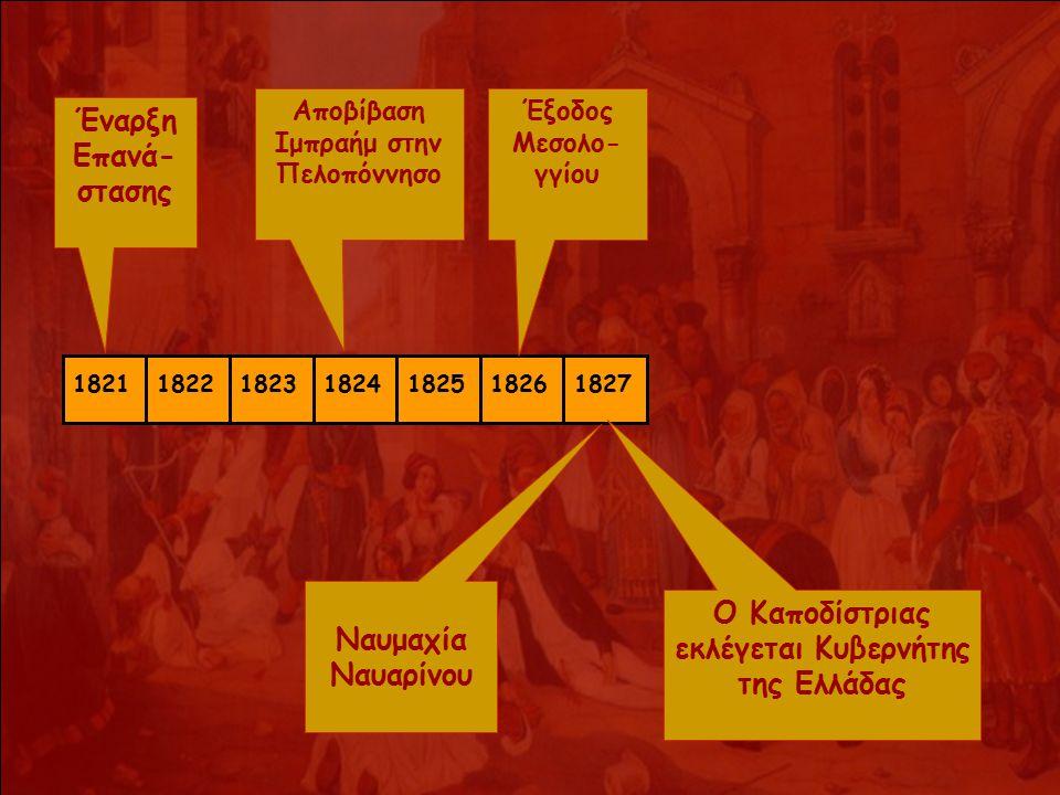 1821182218231824182518261827 Έναρξη Επανά- στασης Αποβίβαση Ιμπραήμ στην Πελοπόννησο Έξοδος Μεσολο- γγίου Ναυμαχία Ναυαρίνου Ο Καποδίστριας εκλέγεται Κυβερνήτης της Ελλάδας