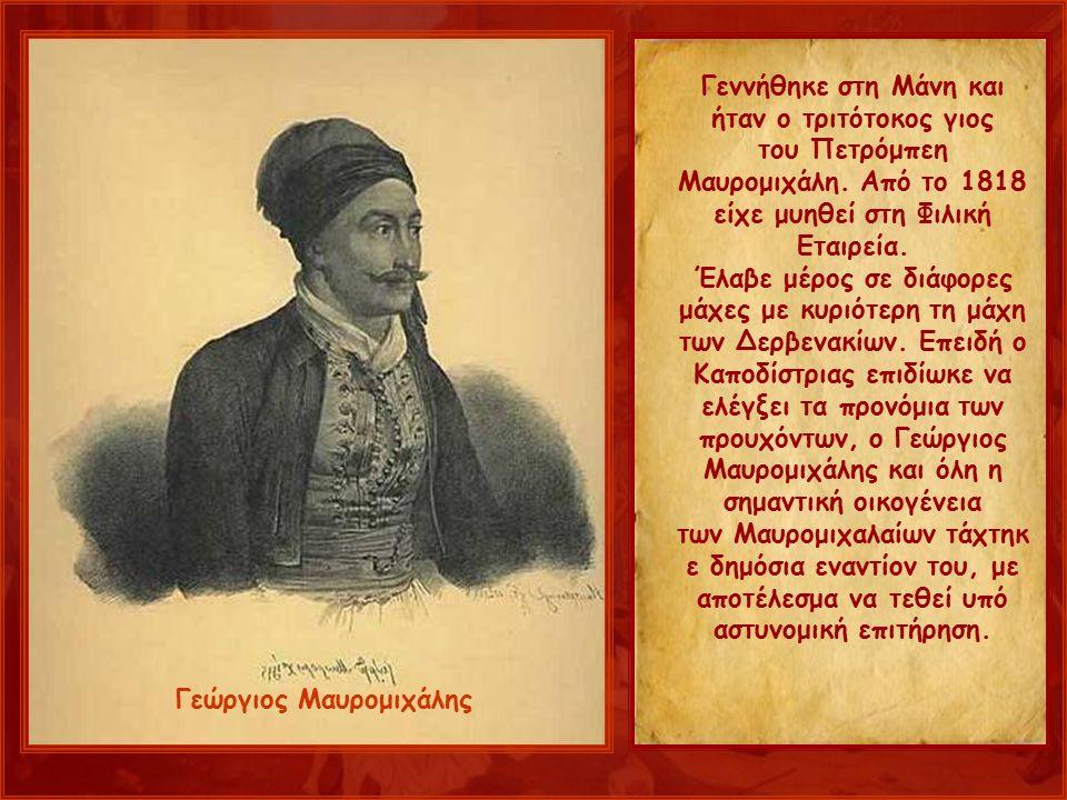 Γεννήθηκε στη Μάνη και ήταν ο τριτότοκος γιος του Πετρόμπεη Μαυρομιχάλη.