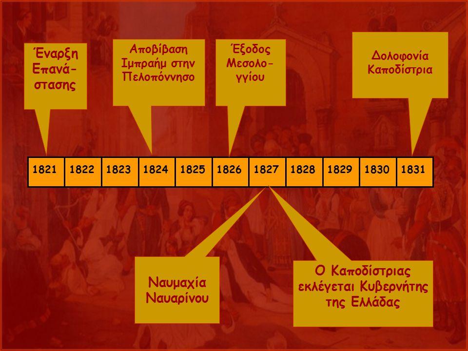ναρ 18211822182318241825182618271828182918301831 Έναρξη Επανά- στασης Αποβίβαση Ιμπραήμ στην Πελοπόννησο Έξοδος Μεσολο- γγίου Ναυμαχία Ναυαρίνου Ο Καποδίστριας εκλέγεται Κυβερνήτης της Ελλάδας Δολοφονία Καποδίστρια