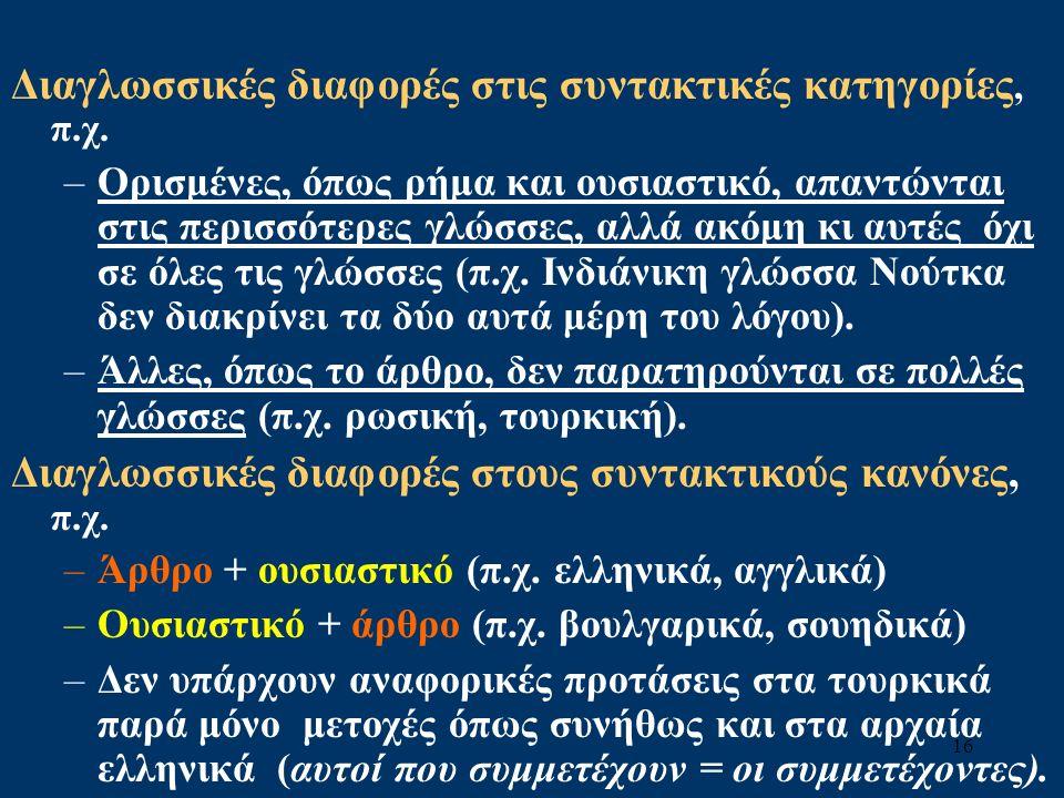 16 Διαγλωσσικές διαφορές στις συντακτικές κατηγορίες, π.χ.
