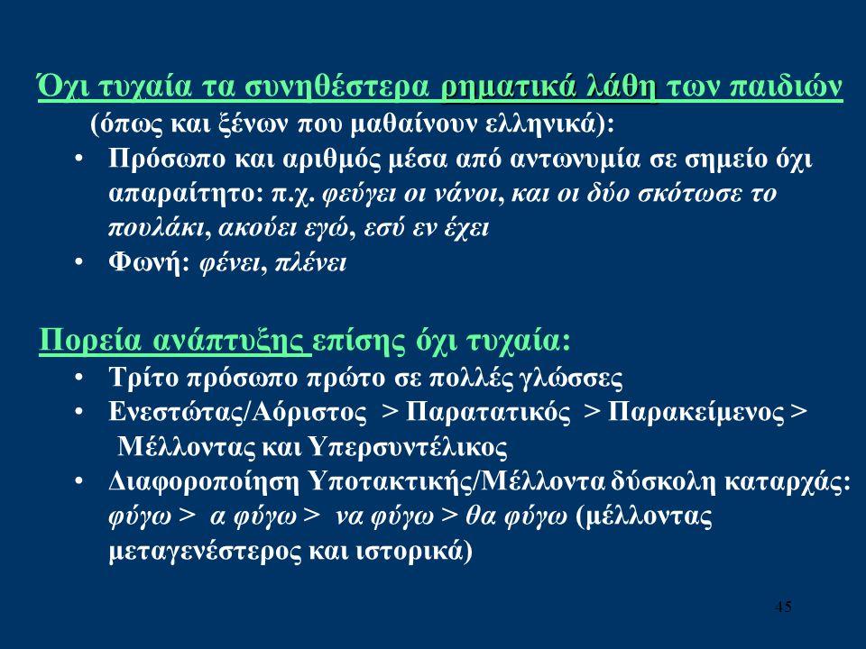 45 ρηματικά λάθη Όχι τυχαία τα συνηθέστερα ρηματικά λάθη των παιδιών (όπως και ξένων που μαθαίνουν ελληνικά): Πρόσωπο και αριθμός μέσα από αντωνυμία σε σημείο όχι απαραίτητο: π.χ.