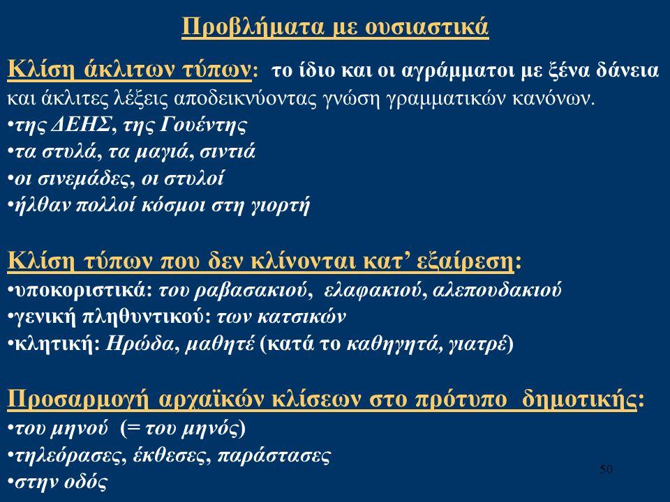 50 Προβλήματα με ουσιαστικά Κλίση άκλιτων τύπων : το ίδιο και οι αγράμματοι με ξένα δάνεια και άκλιτες λέξεις αποδεικνύοντας γνώση γραμματικών κανόνων.