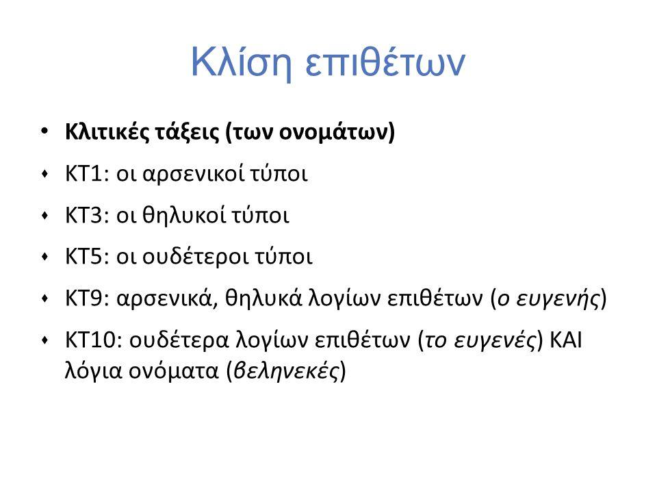 Κλίση επιθέτων Κλιτικές τάξεις (των ονομάτων)  ΚΤ1: οι αρσενικοί τύποι  ΚΤ3: οι θηλυκοί τύποι  ΚΤ5: οι ουδέτεροι τύποι  ΚΤ9: αρσενικά, θηλυκά λογί