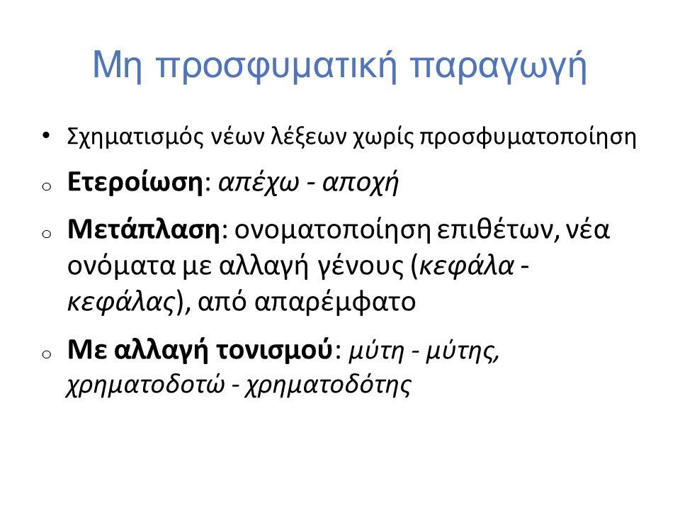 Μη προσφυματική παραγωγή Σχηματισμός νέων λέξεων χωρίς προσφυματοποίηση o Ετεροίωση: απέχω - αποχή o Μετάπλαση: ονοματοποίηση επιθέτων, νέα ονόματα με
