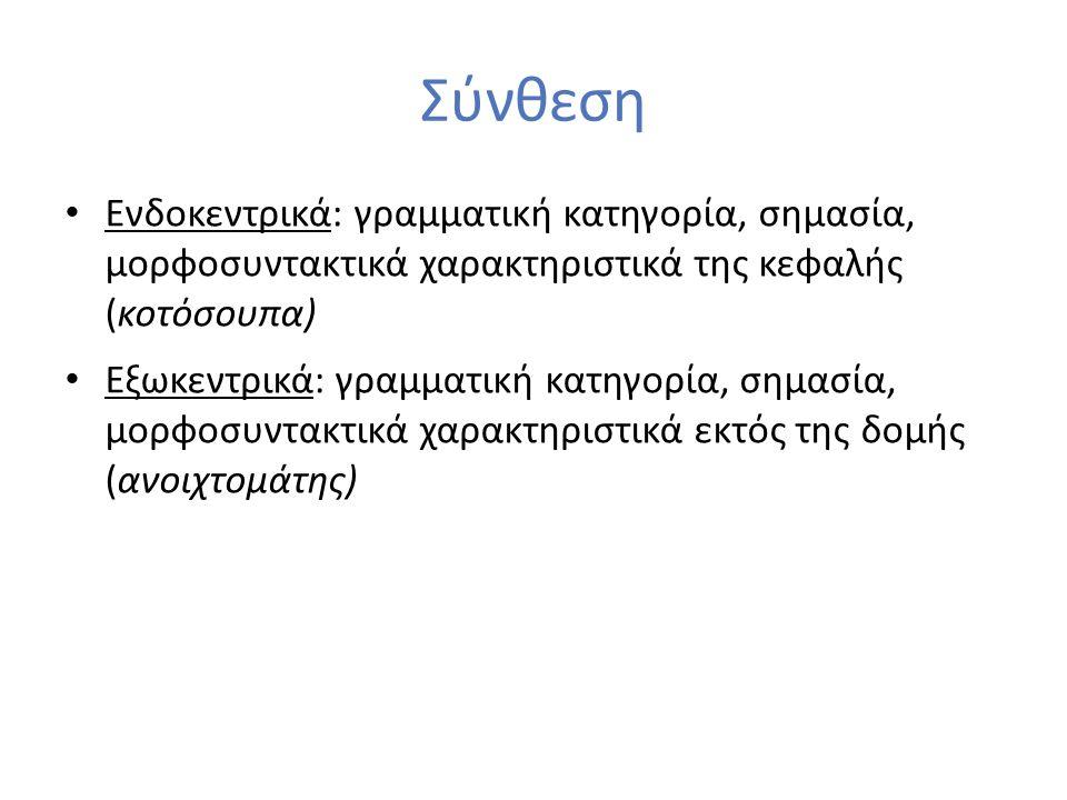 Σύνθεση Ενδοκεντρικά: γραμματική κατηγορία, σημασία, μορφοσυντακτικά χαρακτηριστικά της κεφαλής (κοτόσουπα) Εξωκεντρικά: γραμματική κατηγορία, σημασία