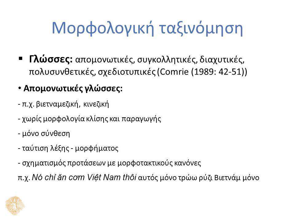 Μορφολογική ταξινόμηση  Γλώσσες: απομονωτικές, συγκολλητικές, διαχυτικές, πολυσυνθετικές, σχεδιοτυπικές (Comrie (1989: 42-51)) Απομονωτικές γλώσσες: