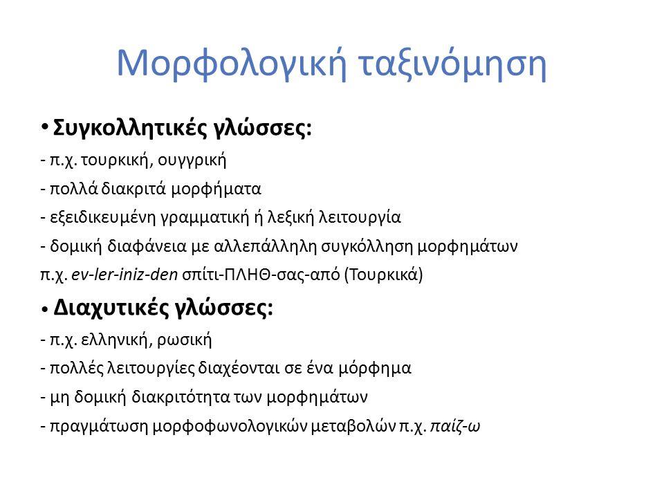 Μορφολογική ταξινόμηση Συγκολλητικές γλώσσες: - π.χ. τουρκική, ουγγρική - πολλά διακριτά μορφήματα - εξειδικευμένη γραμματική ή λεξική λειτουργία - δο