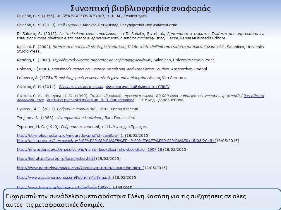 Συνοπτική βιοβλιογραφία αναφοράς Брюсов, В. Я.(1955).