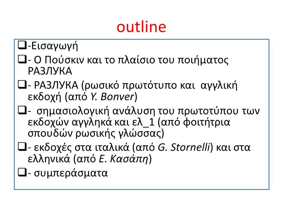 Η ιδέα αυτής της εισήγησης γεννήθηκε από το αίτημα ενός φοιτητή του μεταπτυχιακού «Μετάφραση, επικοινωνία και εκδοτικός χώρος» του Τμήματος Ιταλικής Γλώσσας και Φιλολογίας του Αριστοτελείου Πανεπιστημίου, να επαληθευθεί η μετάφραση του ποιήματος РАЗЛУКА (Razluka), που έγινε από μια φοιτήτρια ρωσικής γλώσσας με τη βοήθεια ενός software μετάφρασης.