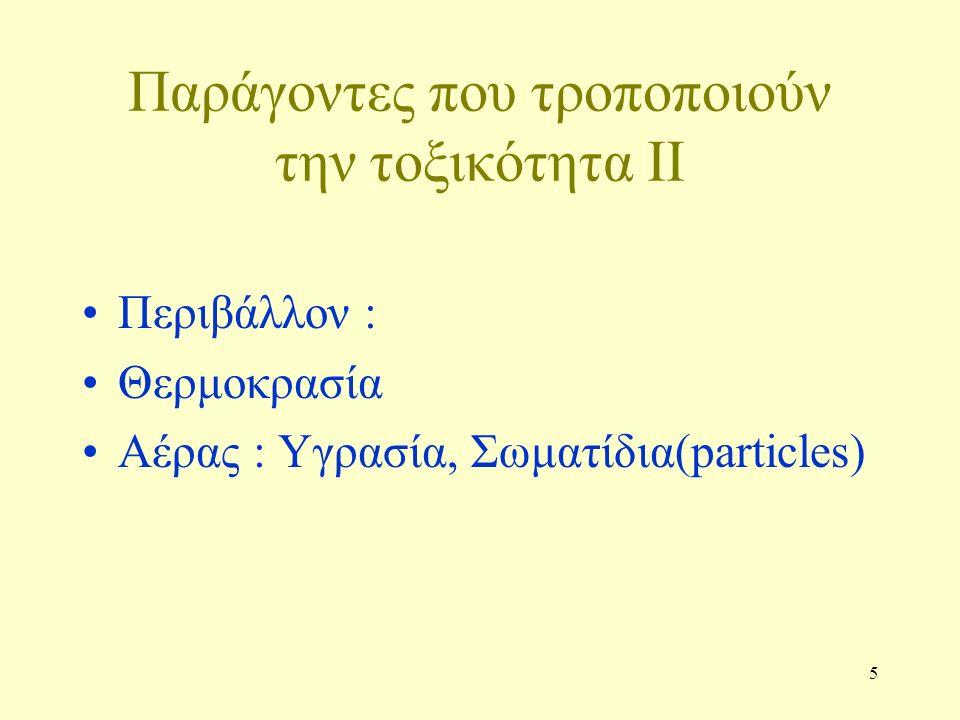 5 Παράγοντες που τροποποιούν την τοξικότητα II Περιβάλλον : Θερμοκρασία Αέρας : Υγρασία, Σωματίδια(particles)