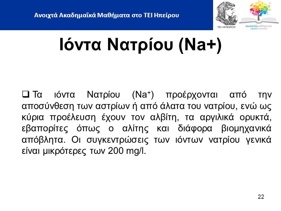 22 Ιόντα Νατρίου (Na+)  Τα ιόντα Νατρίου (Na + ) προέρχονται από την αποσύνθεση των αστρίων ή από άλατα του νατρίου, ενώ ως κύρια προέλευση έχουν τον αλβίτη, τα αργιλικά ορυκτά, εβαπορίτες όπως ο αλίτης και διάφορα βιομηχανικά απόβλητα.