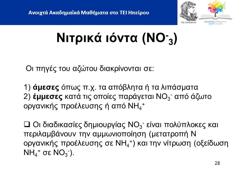 28 Νιτρικά ιόντα (ΝΟ - 3 ) Οι πηγές του αζώτου διακρίνονται σε: 1) άμεσες όπως π.χ.