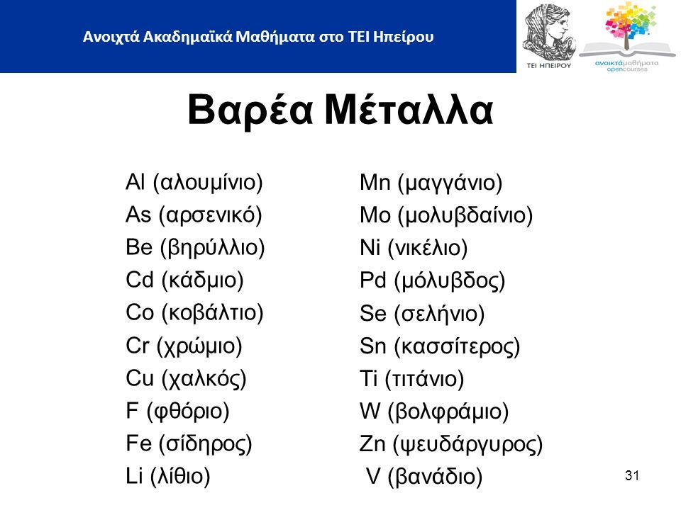 31 Βαρέα Μέταλλα Al (αλουμίνιο) As (αρσενικό) Be (βηρύλλιο) Cd (κάδμιο) Co (κοβάλτιο) Cr (χρώμιο) Cu (χαλκός) F (φθόριο) Fe (σίδηρος) Li (λίθιο) Mn (μαγγάνιο) Mo (μολυβδαίνιο) Ni (νικέλιο) Pd (μόλυβδος) Se (σελήνιο) Sn (κασσίτερος) Ti (τιτάνιο) W (βολφράμιο) Zn (ψευδάργυρος) V (βανάδιο) Ανοιχτά Ακαδημαϊκά Μαθήματα στο ΤΕΙ Ηπείρου