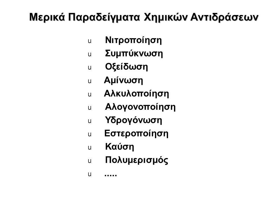 Μερικά Παραδείγματα Χημικών Αντιδράσεων  Νιτροποίηση  Συμπύκνωση  Οξείδωση  Αμίνωση  Αλκυλοποίηση  Αλογονοποίηση  Υδρογόνωση  Εστεροποίηση  Καύση  Πολυμερισμός .....