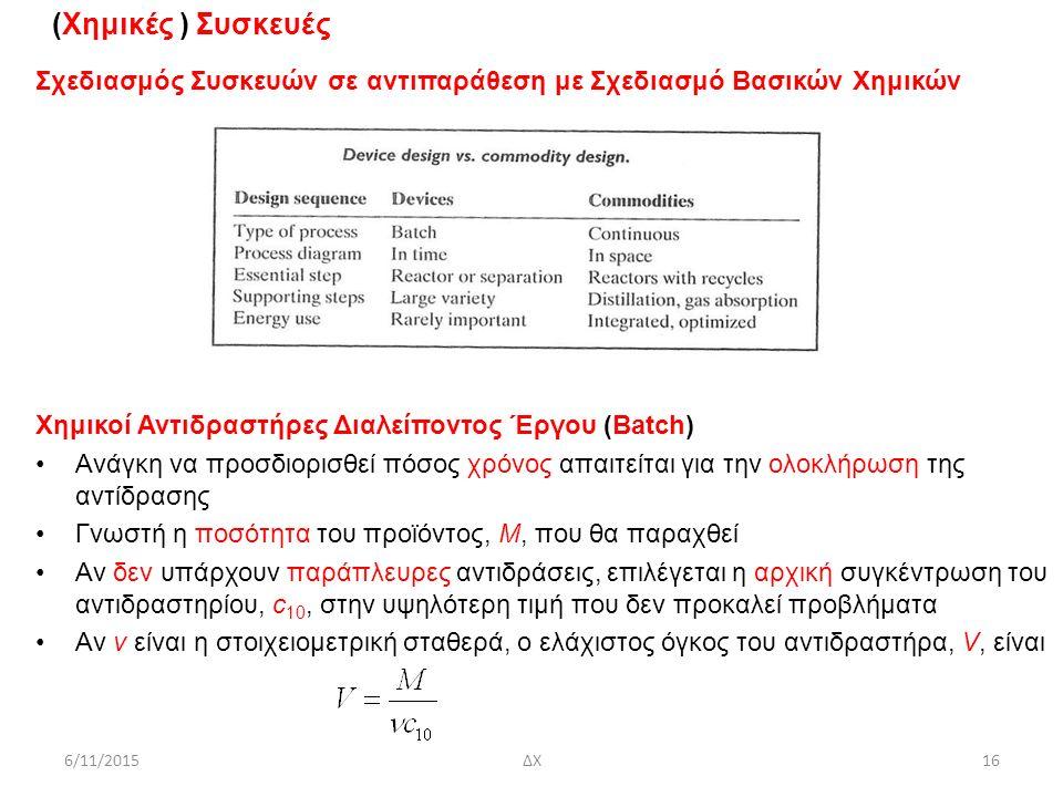 (Χημικές ) Συσκευές Σχεδιασμός Συσκευών σε αντιπαράθεση με Σχεδιασμό Βασικών Χημικών Χημικοί Αντιδραστήρες Διαλείποντος Έργου (Batch) Ανάγκη να προσδιορισθεί πόσος χρόνος απαιτείται για την ολοκλήρωση της αντίδρασης Γνωστή η ποσότητα του προϊόντος, Μ, που θα παραχθεί Αν δεν υπάρχουν παράπλευρες αντιδράσεις, επιλέγεται η αρχική συγκέντρωση του αντιδραστηρίου, c 10, στην υψηλότερη τιμή που δεν προκαλεί προβλήματα Αν ν είναι η στοιχειομετρική σταθερά, ο ελάχιστος όγκος του αντιδραστήρα, V, είναι 6/11/2015ΔΧ16