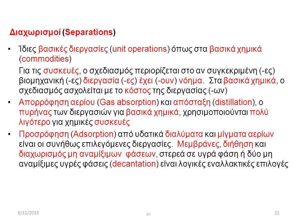 6/11/2015 ΔΧ 21 Διαχωρισμοί (Separations) Ίδιες βασικές διεργασίες (unit operations) όπως στα βασικά χημικά (commodities) Για τις συσκευές, ο σχεδιασμός περιορίζεται στο αν συγκεκριμένη (-ες) βιομηχανική (-ες) διεργασία (-ες) έχει (-ουν) νόημα.