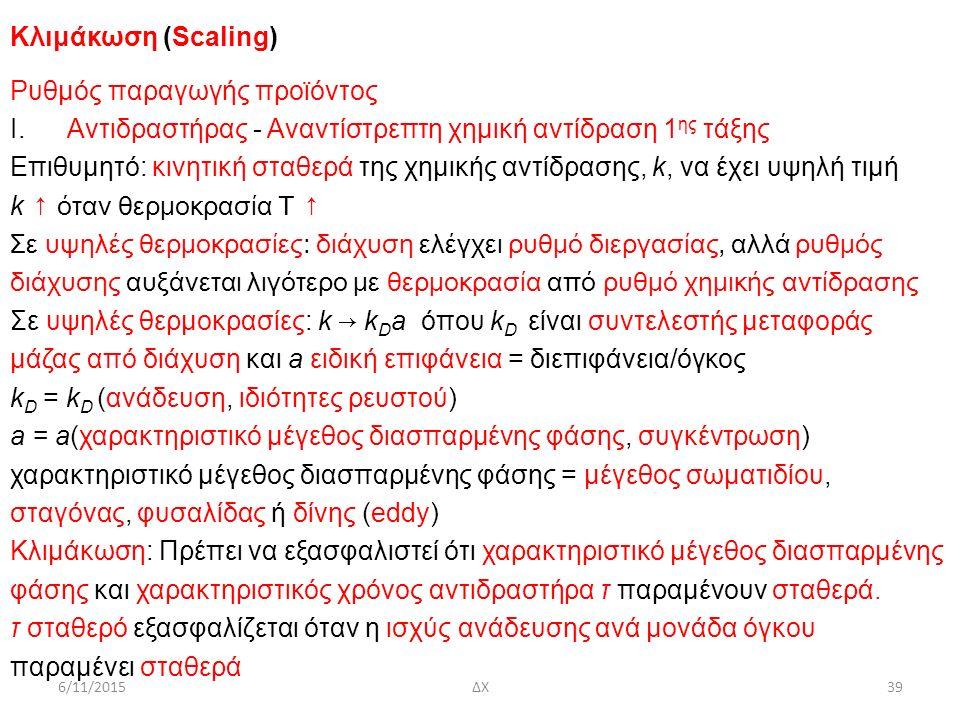 6/11/2015ΔΧ39 Κλιμάκωση (Scaling) Ρυθμός παραγωγής προϊόντος Ι. Αντιδραστήρας - Αναντίστρεπτη χημική αντίδραση 1 ης τάξης Επιθυμητό: κινητική σταθερά