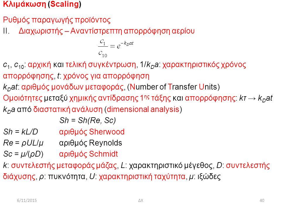 6/11/2015ΔΧ40 Κλιμάκωση (Scaling) Ρυθμός παραγωγής προϊόντος ΙΙ.Διαχωριστής – Αναντίστρεπτη απορρόφηση αερίου c 1, c 10 : αρχική και τελική συγκέντρωση, 1/k D a: χαρακτηριστικός χρόνος απορρόφησης, t: χρόνος για απορρόφηση k D at: αριθμός μονάδων μεταφοράς, (Number of Transfer Units) Ομοιότητες μεταξύ χημικής αντίδρασης 1 ης τάξης και απορρόφησης: kτ → k D at k D a από διαστατική ανάλυση (dimensional analysis) Sh = Sh(Re, Sc) Sh = kL/Dαριθμός Sherwood Re = ρUL/μαριθμός Reynolds Sc = μ/(ρD)αριθμός Schmidt k: συντελεστής μεταφοράς μάζας, L: χαρακτηριστικό μέγεθος, D: συντελεστής διάχυσης, ρ: πυκνότητα, U: χαρακτηριστική ταχύτητα, μ: ιξώδες