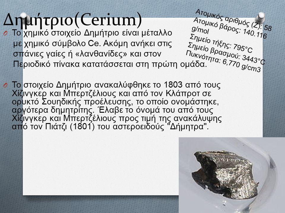 Δημήτριο(Cerium) O Το χημικό στοιχείο Δημήτριο είναι μέταλλο με χημικό σύμβολο Ce.