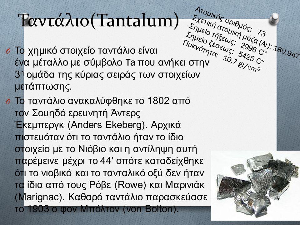 Ταντάλιο(Tantalum) O Το χημικό στοιχείο ταντάλιο είναι ένα μέταλλο με σύμβολο Ta που ανήκει στην 3 η ομάδα της κύριας σειράς των στοιχείων μετάπτωσης.
