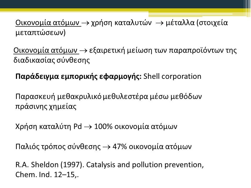 Οικονομία ατόμων  χρήση καταλυτών  μέταλλα (στοιχεία μεταπτώσεων) Παράδειγμα εμπορικής εφαρμογής: Shell corporation Παρασκευή μεθακρυλικό μεθυλεστέρα μέσω μεθόδων πράσινης χημείας Χρήση καταλύτη Pd  100% οικονομία ατόμων Παλιός τρόπος σύνθεσης  47% οικονομία ατόμων Οικονομία ατόμων  εξαιρετική μείωση των παραπροϊόντων της διαδικασίας σύνθεσης R.A.