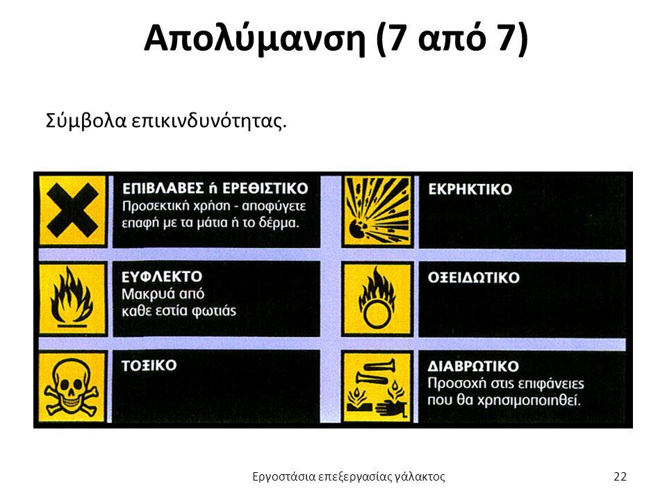 Απολύμανση (7 από 7) Σύμβολα επικινδυνότητας. Εργοστάσια επεξεργασίας γάλακτος 22