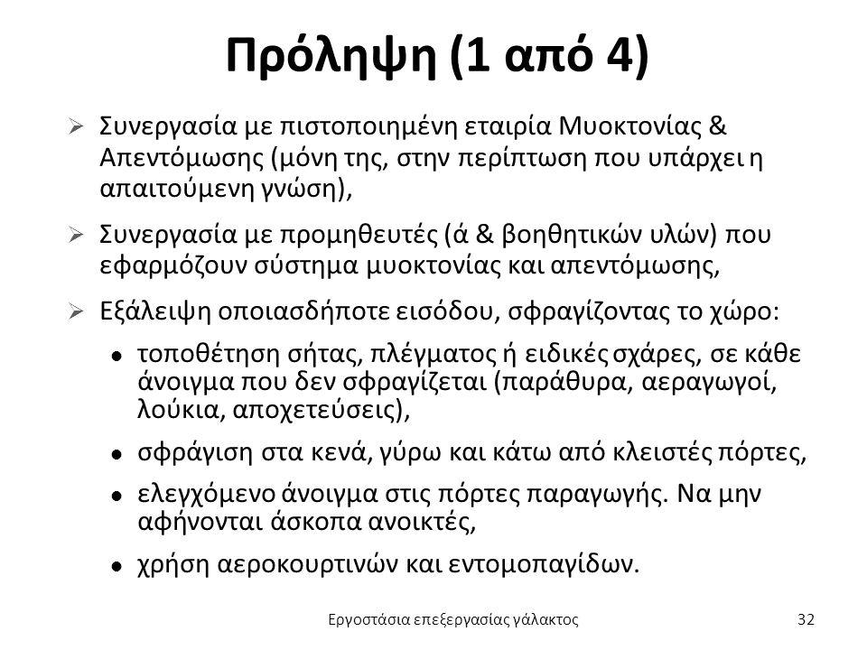 Πρόληψη (1 από 4)  Συνεργασία με πιστοποιημένη εταιρία Μυοκτονίας & Απεντόμωσης (μόνη της, στην περίπτωση που υπάρχει η απαιτούμενη γνώση),  Συνεργα