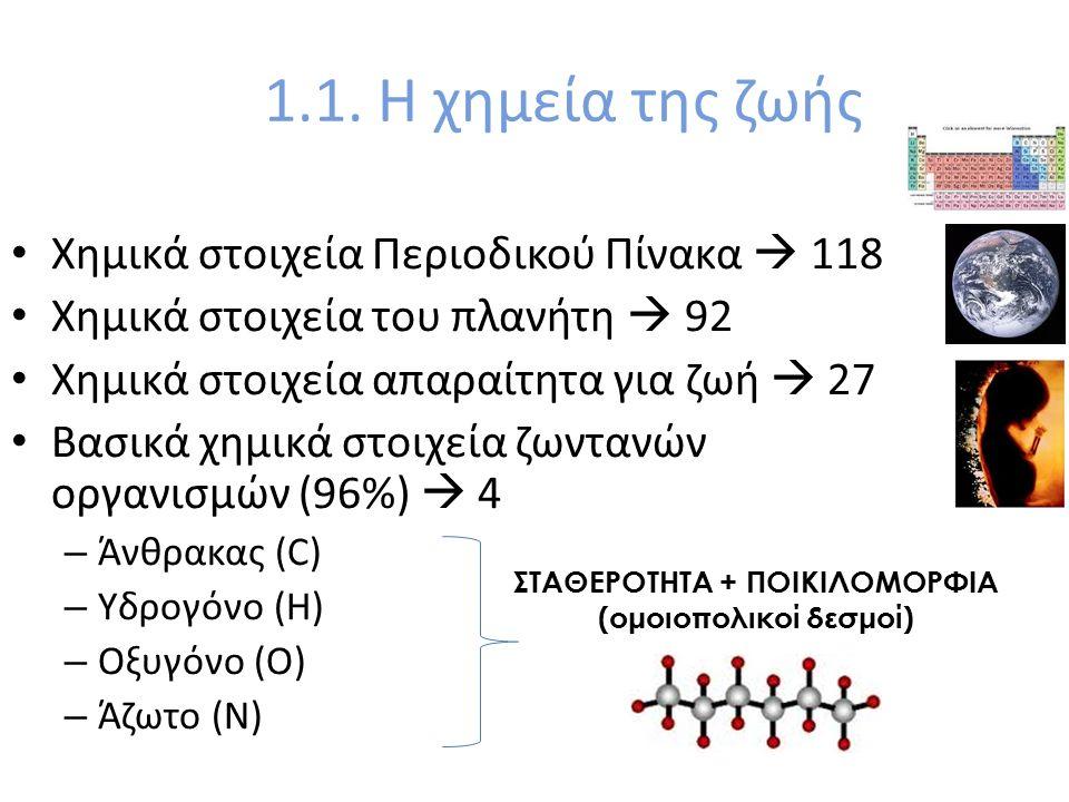 1.1. Η χημεία της ζωής Χημικά στοιχεία Περιοδικού Πίνακα  118 Χημικά στοιχεία του πλανήτη  92 Χημικά στοιχεία απαραίτητα για ζωή  27 Βασικά χημικά