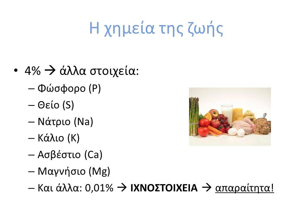 Η χημεία της ζωής 4%  άλλα στοιχεία: – Φώσφορο (P) – Θείο (S) – Νάτριο (Na) – Κάλιο (K) – Ασβέστιο (Ca) – Μαγνήσιο (Mg) – Και άλλα: 0,01%  ΙΧΝΟΣΤΟΙΧ