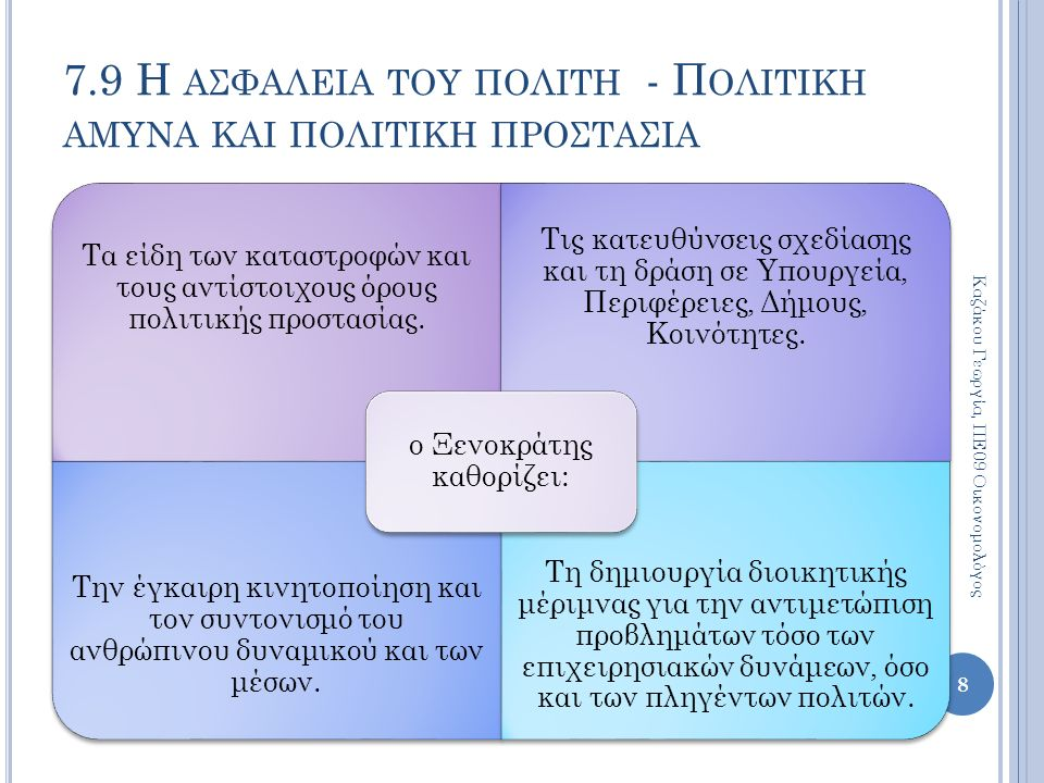 Τα είδη των καταστροφών και τους αντίστοιχους όρους πολιτικής προστασίας. Τις κατευθύνσεις σχεδίασης και τη δράση σε Υπουργεία, Περιφέρειες, Δήμους, Κ