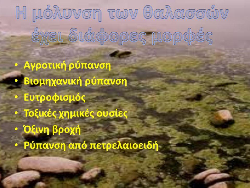Η ρύπανση που προκαλείται στα νερά από τις γεωργικές δραστηριότητες αφορά τη ρύπανση από τα λιπάσματα που έχει σχέση με τον ευτροφισμό των νερών, καθώς και τη ρύπανση φυτοφαρμάκων.