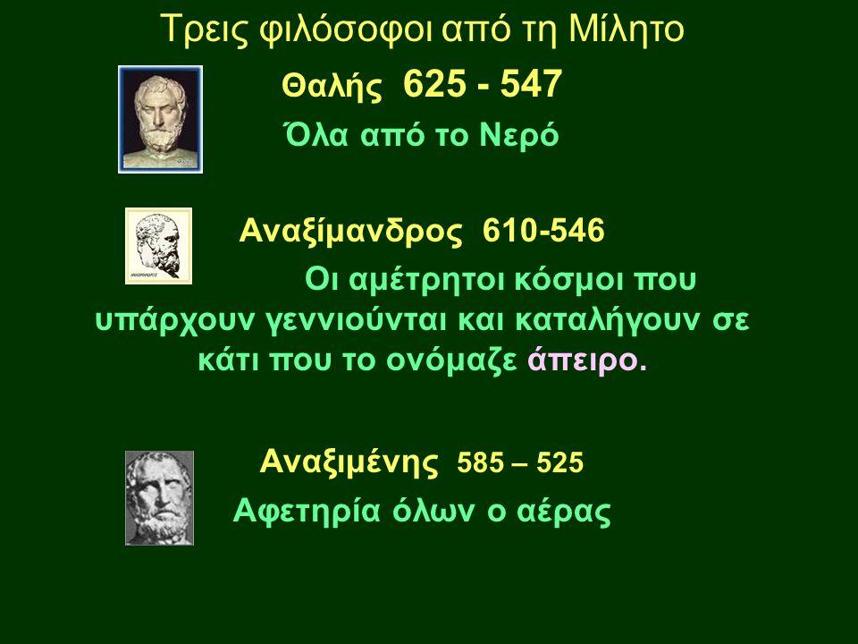 Τρεις φιλόσοφοι από τη Μίλητο Θαλής 625 - 547 Όλα από το Νερό Αναξίμανδρος 610-546 Οι αμέτρητοι κόσμοι που υπάρχουν γεννιούνται και καταλήγουν σε κάτι που το ονόμαζε άπειρο.