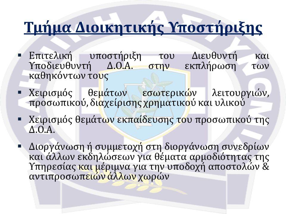 Τμήμα Διοικητικής Υποστήριξης  Επιτελική υποστήριξη του Διευθυντή και Υποδιευθυντή Δ.Ο.Α.