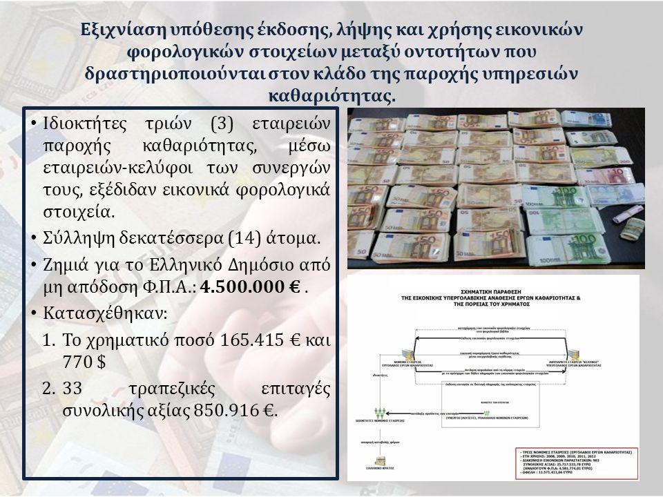 Εξιχνίαση υπόθεσης έκδοσης, λήψης και χρήσης εικονικών φορολογικών στοιχείων μεταξύ οντοτήτων που δραστηριοποιούνται στον κλάδο της παροχής υπηρεσιών καθαριότητας.