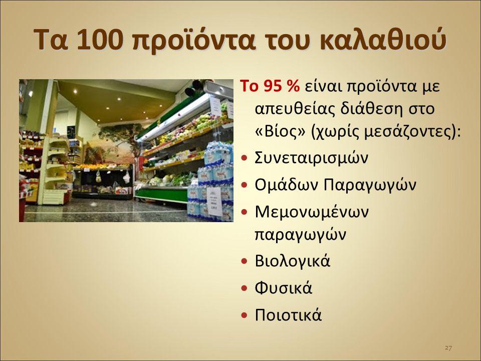 Τα 100 προϊόντα του καλαθιού Το 95 % είναι προϊόντα με απευθείας διάθεση στο «Βίος» (χωρίς μεσάζοντες): Συνεταιρισμών Ομάδων Παραγωγών Μεμονωμένων παρ