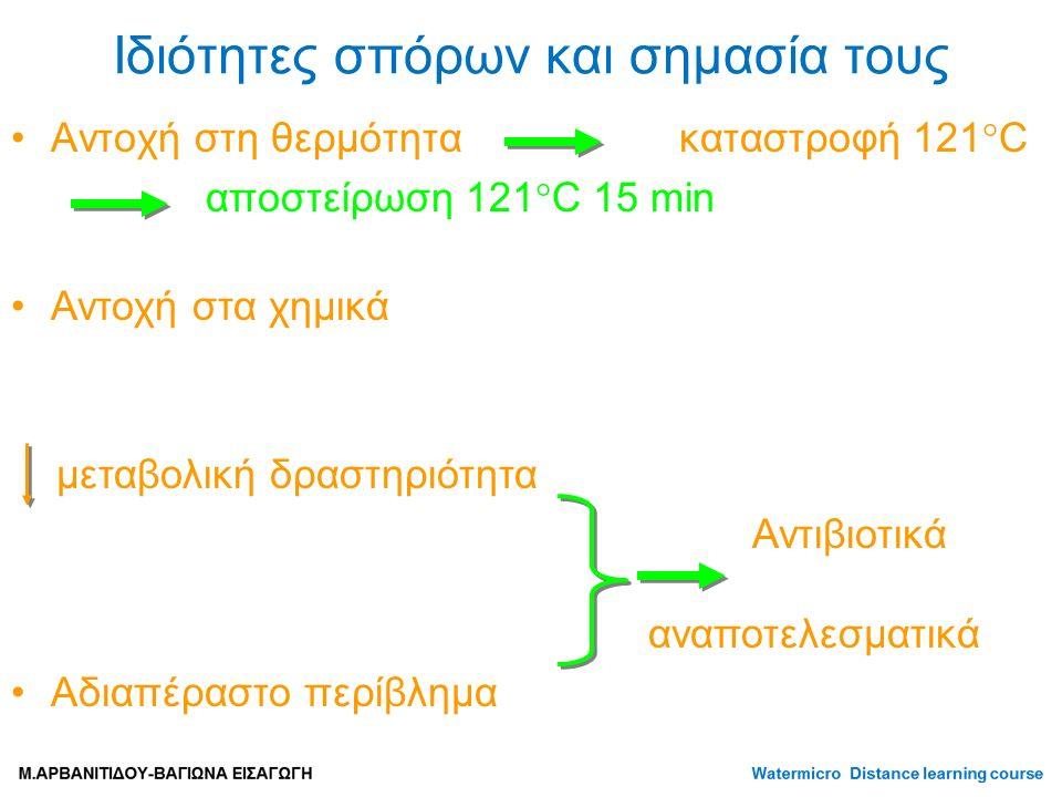 Ιδιότητες σπόρων και σημασία τους Αντοχή στη θερμότητα καταστροφή 121  C αποστείρωση 121  C 15 min Αντοχή στα χημικά μεταβολική δραστηριότητα Αντιβιοτικά αναποτελεσματικά Αδιαπέραστο περίβλημα