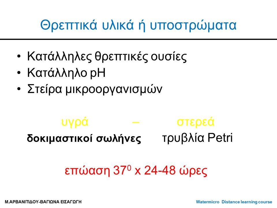 Θρεπτικά υλικά ή υποστρώματα Κατάλληλες θρεπτικές ουσίες Κατάλληλο pH Στείρα μικροοργανισμών υγρά – στερεά δοκιμαστικοί σωλήνες τρυβλία Petri επώαση 37 0 x 24-48 ώρες