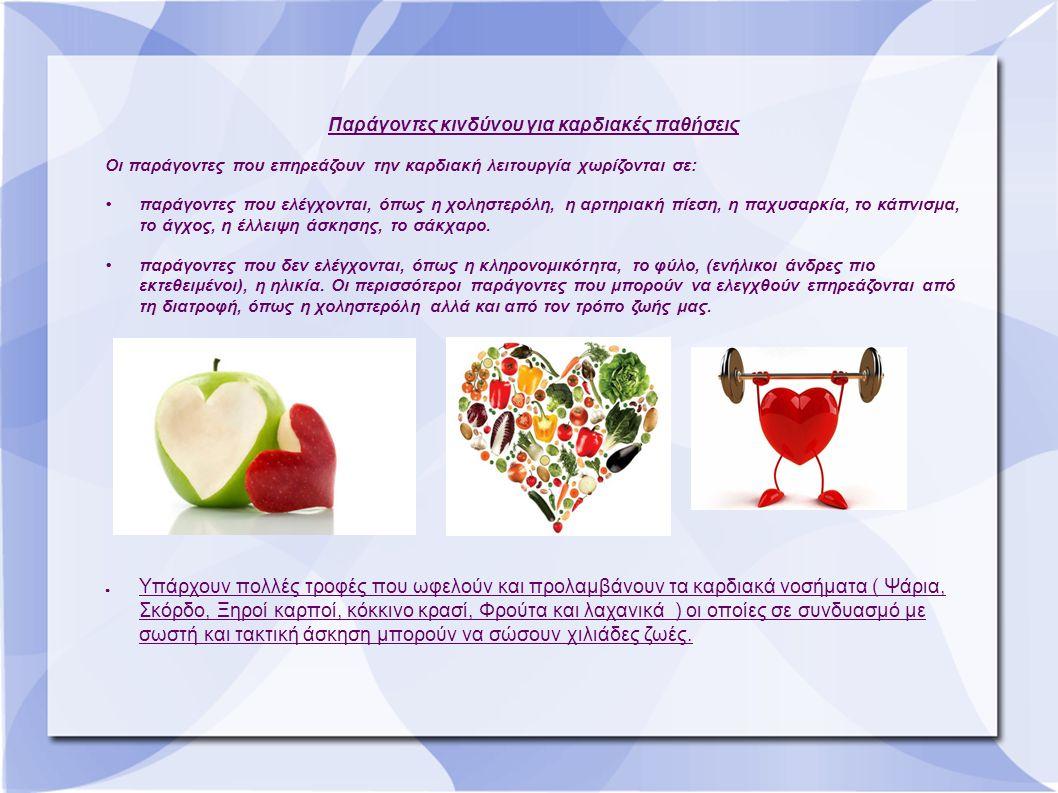 Παράγοντες κινδύνου για καρδιακές παθήσεις Οι παράγοντες που επηρεάζουν την καρδιακή λειτουργία χωρίζονται σε: παράγοντες που ελέγχονται, όπως η χοληστερόλη, η αρτηριακή πίεση, η παχυσαρκία, το κάπνισμα, το άγχος, η έλλειψη άσκησης, το σάκχαρο.