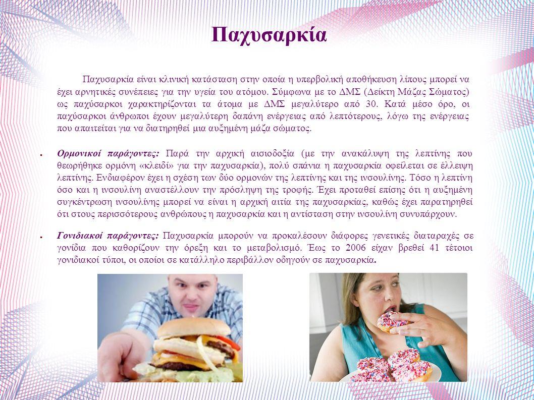 Παχυσαρκία Παχυσαρκία είναι κλινική κατάσταση στην οποία η υπερβολική αποθήκευση λίπους μπορεί να έχει αρνητικές συνέπειες για την υγεία του ατόμου.